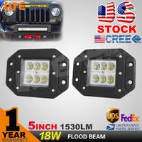 FREE FEDEX SHIPPING! 2PCS 5 INCH 18W CREE LED DUALLY FLUSH MOUNT LIGHT ,FLOOD BEAM, DRIVING LED LIGHT BAR