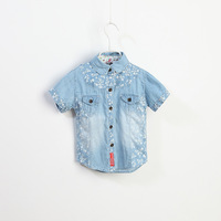 Retail 1pcs Summer Girl / Boy Denim Shirts, flower short sleeve kids shits, beautiful kids fashion