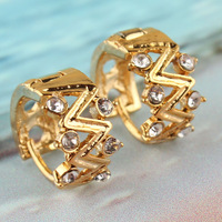 Free Shipping New Fashion 2014 Popular Women 14k Gold Filled Austrian Crystal Environmental Hoop Earrings Jewelry Gift CB0876