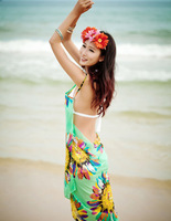 Free Shipping 2014 New Fashion Chiffon Women Wrap Front Summer Cover Up Beach Wear Pareo Dress Towel Swimwear Skirts