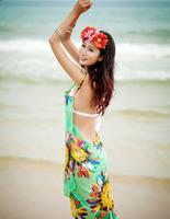 Free Shipping 2014 New Fashion Chiffon Women Wrap Front Summer Cover Up Beach Wear Pareo Dress Towel Swimwear Skirts