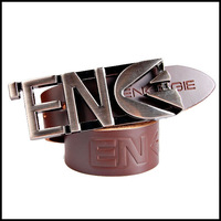 Tide brand casual fashion personality smooth leather men's belt ENERGIE belts letter M