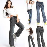 2015 New wide leg pants for women fashion bloomers Elastic waist jeans female denim long trousers Pants & Capris size S,M,L
