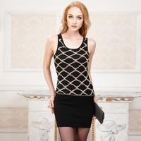 2014 spring slim hip knitted spaghetti strap tank dress stripe basic sleeveless one-piece dress short skirt