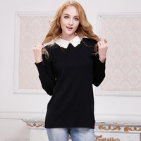 New Arrival 2014 spring medium-long lace peter pan collar basic sweater female  HOT Sale