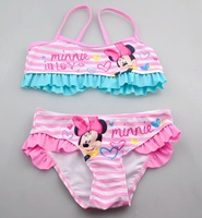 New 2014 good quality  lovely Mickey Children swimwear girls swimwear kids swimwear swimsuit  bikini top and pants  3pieces/lot