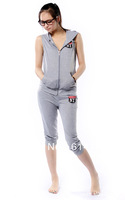 Free shipping 2014 new fashion letters sleeveless hooded track suit casual short-sleeved suit