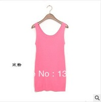 FREE SHIPPING, 2014  summer New style women's solid-color strap vest Camisole
