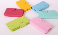 Luxury Cards Flip Leather Colorful Case TPU Cover Book For Iphone 5/5S E008