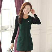Spring and autumn classic o-neck slim ladies woolen elegant one-piece dress