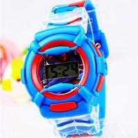 Brand Blue 3D Cartoon Spider-Man Watches Children Kids Boys Students Silicone Sports Digital Wristwatches Christmas Gift 163707