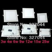 DHL Free shipping 110-240V  6W 12w 15w 25w Warm White/ Cool White  led ceiling panel light lamp with Power adapter 10pcs/lot
