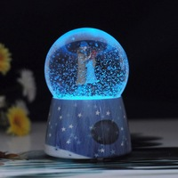 snow globe luminous crystal ball music box with snowflake lights winter forever promise