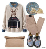 2014 preppy style cartoon rabbit loose pullover sweater female outerwear