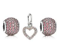 100% Genuine 925 Sterling Silver Charm and  Bead Set Fits European Pandora Style Jewelry Bracelets & Bangles-Love Pendant