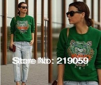 European embroidered tiger head pattern animal clothes pullover fleece sweater green Outerwear