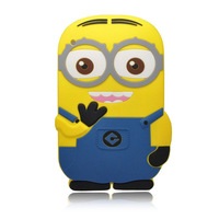 Wholesale cute cartoon soft Despicable Me Yellow Minion silicon material case Stand cover for ipad 2 3 4 3D soft covers