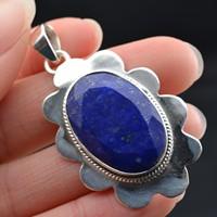 Nepal handmade silver antique 925 pure silver natural lapis lazuli pendant necklace