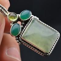 Nepal handmade silver antique 925 pure silver natural prehnite green agate pendant necklace