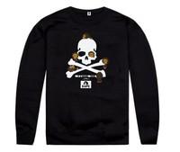 New Free Shipping  Men's Fashion Black Gray Skull Printed Loose style  hip hop rap HOODIE CREWNECK Sweater Sweatshirt
