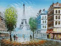 Handmade Oil paintings European Street Eiffel Tower from Paris home Decoration Gift