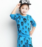 sale new 2014 spring&autumn children's sports clothing outerwear&coats girls sports suit kid skull casual clothes set costumes