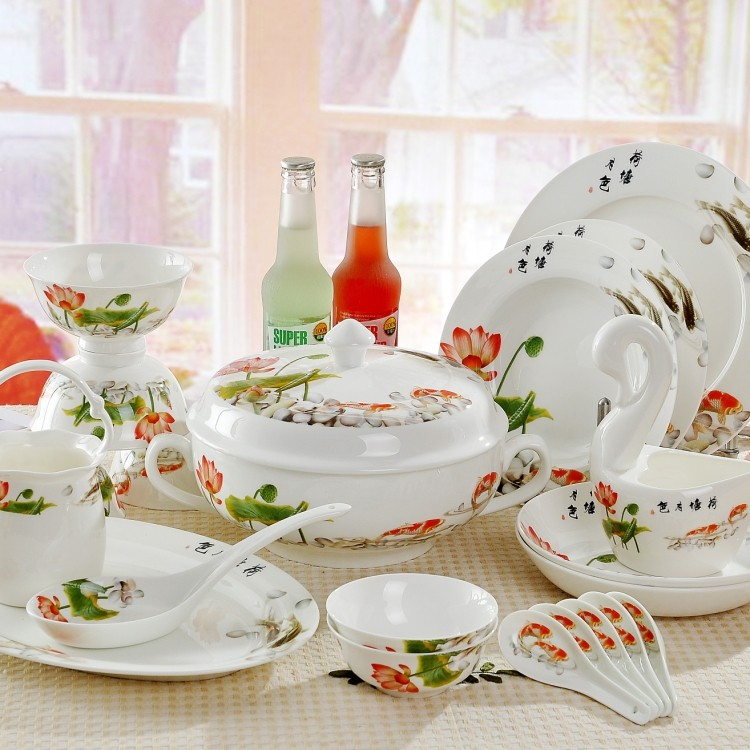 Quality ceramic tableware bone china dinnerware set 56 luxury set(China (Mainland))