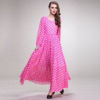 2014 new spring summer autumn  plus size polka dot chiffon one-piece bohemia dress beach expansion bottom ultra long dress P5