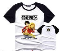 Discount! Men One piece Monkey D Luffy T-shirt splicing sleeve cotton cartoon color block sweatshirt jersey sports plus size