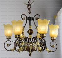 free shiping modern chandeliers/ 6 light iron frame resin shade chandelier light/ classic style chandeliers lamp