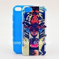 MOQ 1PCS,Cool Tigers IMD 2 in 1 PC+Silicon Combo Case Cover For iPhone 5 5g 5s, Free Shipping