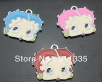 wholesale 100pcs/lot betty boop hang pendant charm fit for diy pet collar