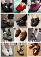 2014 Fashion Black Suede British Goth Punk Creepers Flats shoes Lace up Skull Boat Shoes Harajuku platform shoes platform shoes