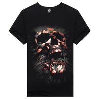 men's 100% cotton skull design 3DT printed short-sleeve o-neck black rock tshirts ,fashion hiphop punk T-shirts TX-KL-20