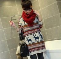 Cute fawn sweater women Cute deer pattern multicolor white winter woman clothing sweater dress oversized sweaters