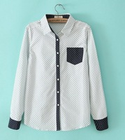 2014 New Arrival Fashion Ladies' Little love spell color printing lapel pocket shirt st001
