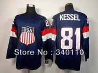 Free Shipping Wholesale&Retail Team USA 2014 Winter Olympic #81 Phil Kessel  Ice Hockey Jersey Embroidery logos Size M-XXXL