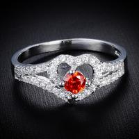 Free Shipping 2014 Trendy Women Heart Shape Rhinestone Platinum Plated  Rings Wholesale 12pcs/lot