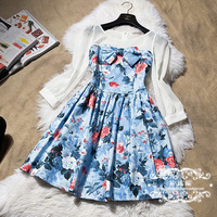 FREE SHIPPING Products in high quality romantic color block floweryness long-sleeve dress