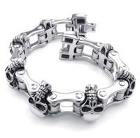 Length 22cm Titanium Steel Punk Rock Bicycle Skull Bracelet for Men