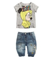 QZ014 Free shipping 6set/lot kids t-shirt +jeans 2pcs set children clothes cartoon kids Minnie mouse clothes set wholesale