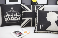 #737  Creative carton home carton Black Gueen&Crown bedding sofa cushion cover pillow case free shipping  wholesale