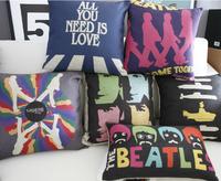 #740 Creative carton home carton beatles poster bedding sofa cushion cover pillow case free shipping  wholesale