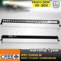 48 INCH 260W CREE LED LIGHT BAR LED DRIVING LIGHT SPOTBEAM IP68 FOR OFFROAD MARINE BOAT 4x4 ATV UTV USE