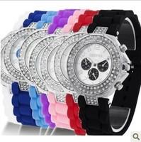 Geneva silicone jelly fashion women dress watch quartz watches crystal Rhinestone 2015 new wristwatches