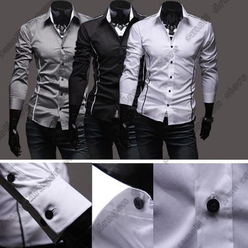 2014 hot sale Free Shipping New Mens Shirts Casual Slim Fit Stylish Mens Dress Shirts 5902 plus size XXXL(China (Mainland))