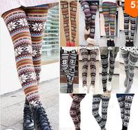 2014 Free Shipping New Women's Nordic Deer Snowflake Knitted Leggings Pants Stockings Pantyhose