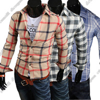 2014 New fashion Mens shirts, calssical coloured plaid patterns, casual slim fit shirts 5015