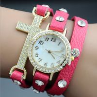 ladies punk style gold plated rhinestone, leather cross combination wrap watch, girls leather crystal band wristwatch