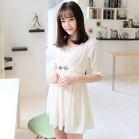 2014 spring women's chiffon one-piece dress fresh sweet beading pleated short-sleeve princess dress